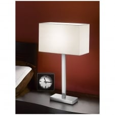 Chrome Table Lamp with Off-White Rectangular Shade