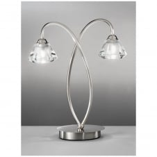 Twista Satin Nickel 2 Light Table Lamp