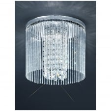 350mm Chrome and Crystal Flush IP44 Ceiling Light