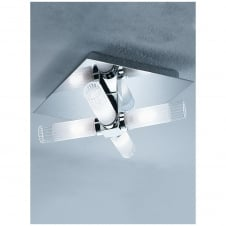 Chrome 4 Glass Tube Semi Flush Light