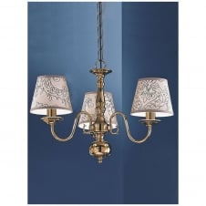 Delft Polished Brass 3 Light Ceiling Fitting