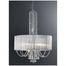 Empress Chrome and Crystal 6 Light Ceiling Fitting