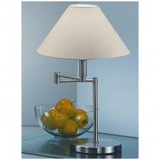 Satin Nickel Swing Arm Table Lamp