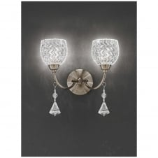 Sherrie Bronze 2 Light Wall Bracket with Crystal drops