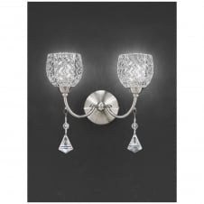 Sherrie Satin Nickel 2 Light Wall Bracket with Crystal Drops