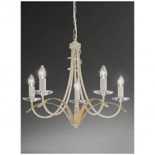 Fusion Cream and Gold 5 Light Ceiling Fitting