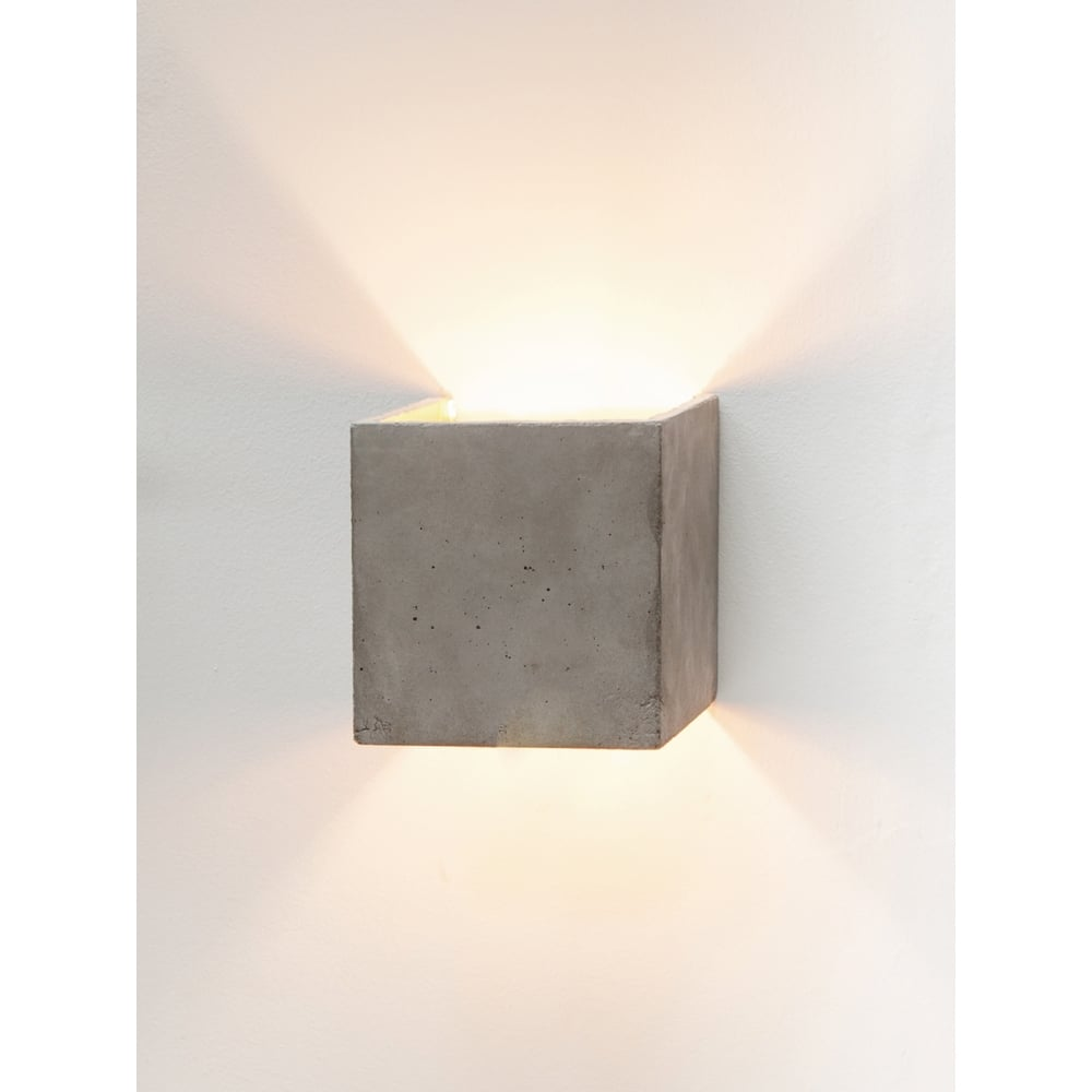 huge selection of 0aa97 37f98 Concrete Up and Down Light Grey and Gold Modern Cube Wall Light