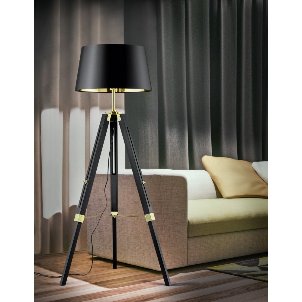Trio Gent Modern Black Natural Wood Floor Lamp