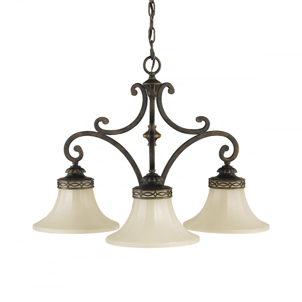 Georgian Bronze Dining Room Light Ceiling Chandelier With Amber Scavo Glass Shades