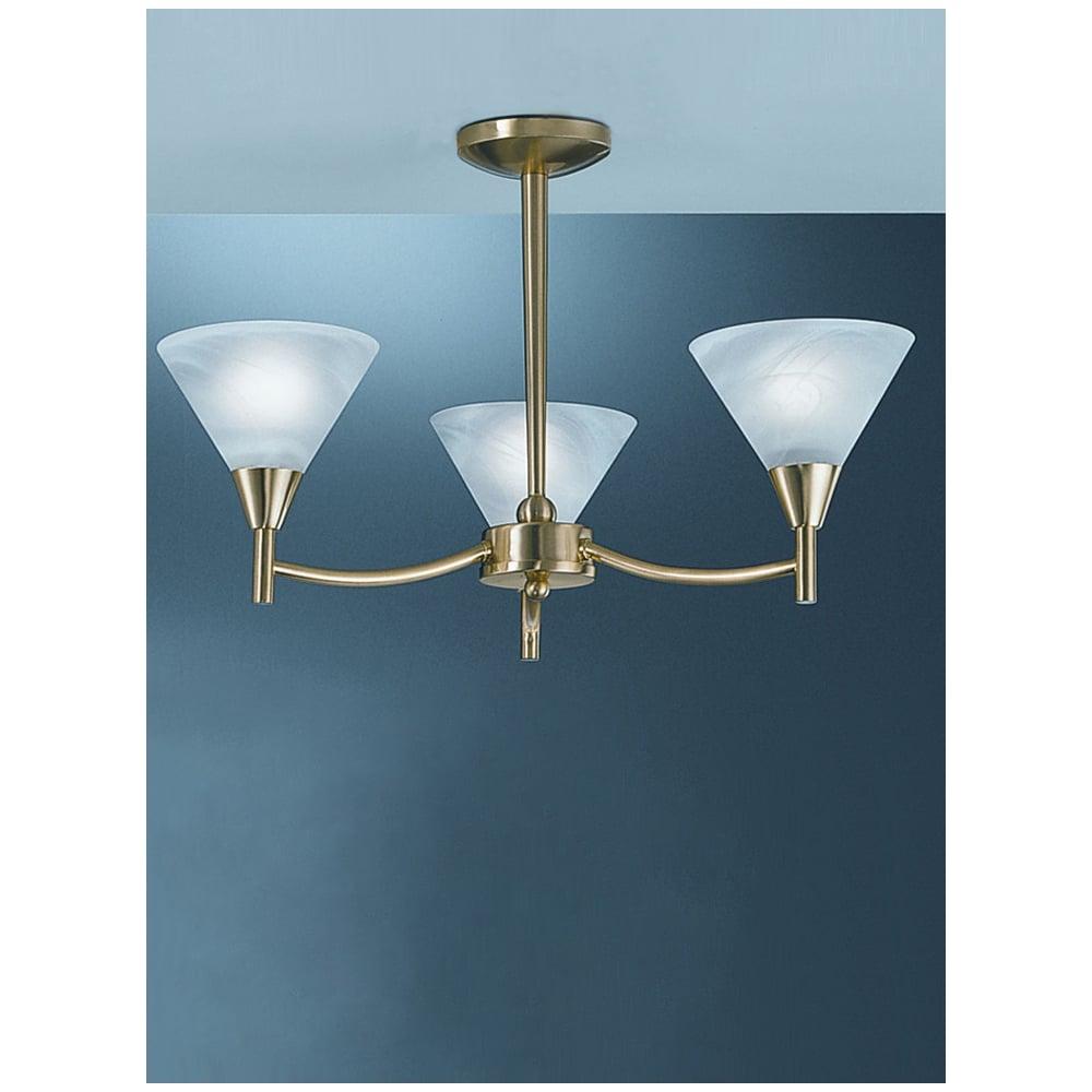 Franklite PE8013 Harmony Satin Brass 3 Light Ceiling