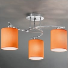 Hexx Chrome 3 Light Low Energy Ceiling Fitting with Orange Shades