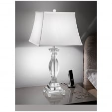 Hugo Crystal 1 Light Table Lamp with Off-White Shade