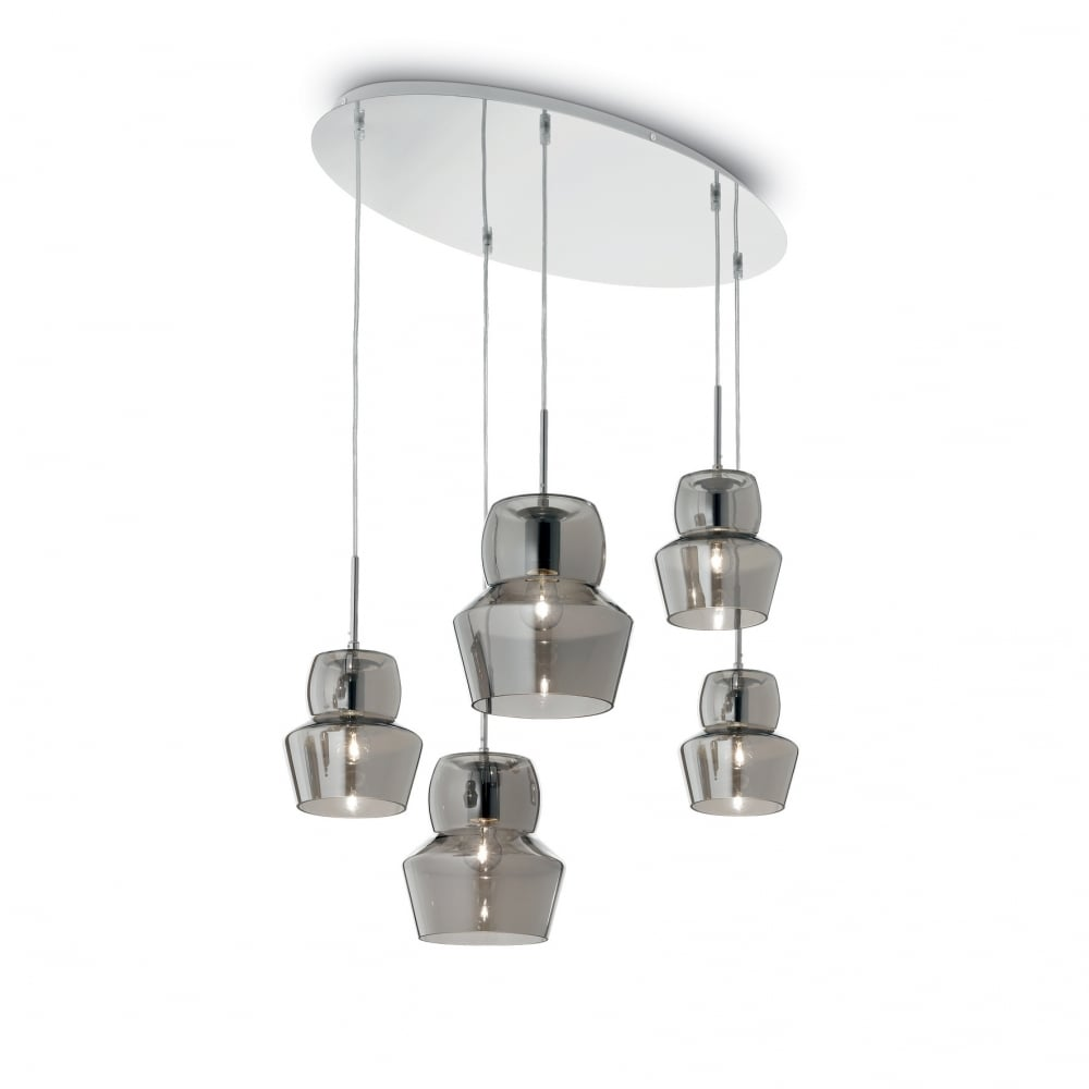 Zeno Cascade Ceiling Pendant With Smoked Glass Shades