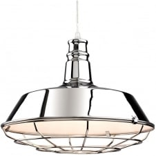 Manta Chrome Caged Dish Ceiling Pendant Light