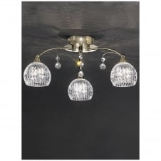 Jura 3 Light Crystal Ceiling Fitting with Bronze finish