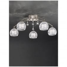 Jura 5 Light Satin Nickel Ceiling Fitting