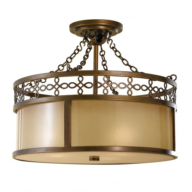 Feiss Oriental Oil Rubbed Semi Flushed Bronze Ceiling Light with Amber Aged Glass