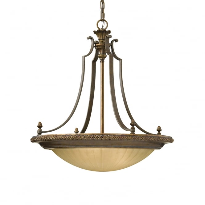 Feiss Georgian Style Suspended Large Scavo Glass Ceiling Bowl Shape Light Fitting