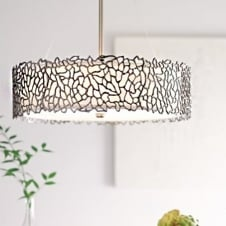 Pewter Coral Effect Hanging Ceiling Light with White Glass Diffuser