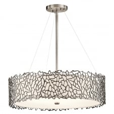 Pewter Coral Effect Nickel Hanging Ceiling Pendant Light