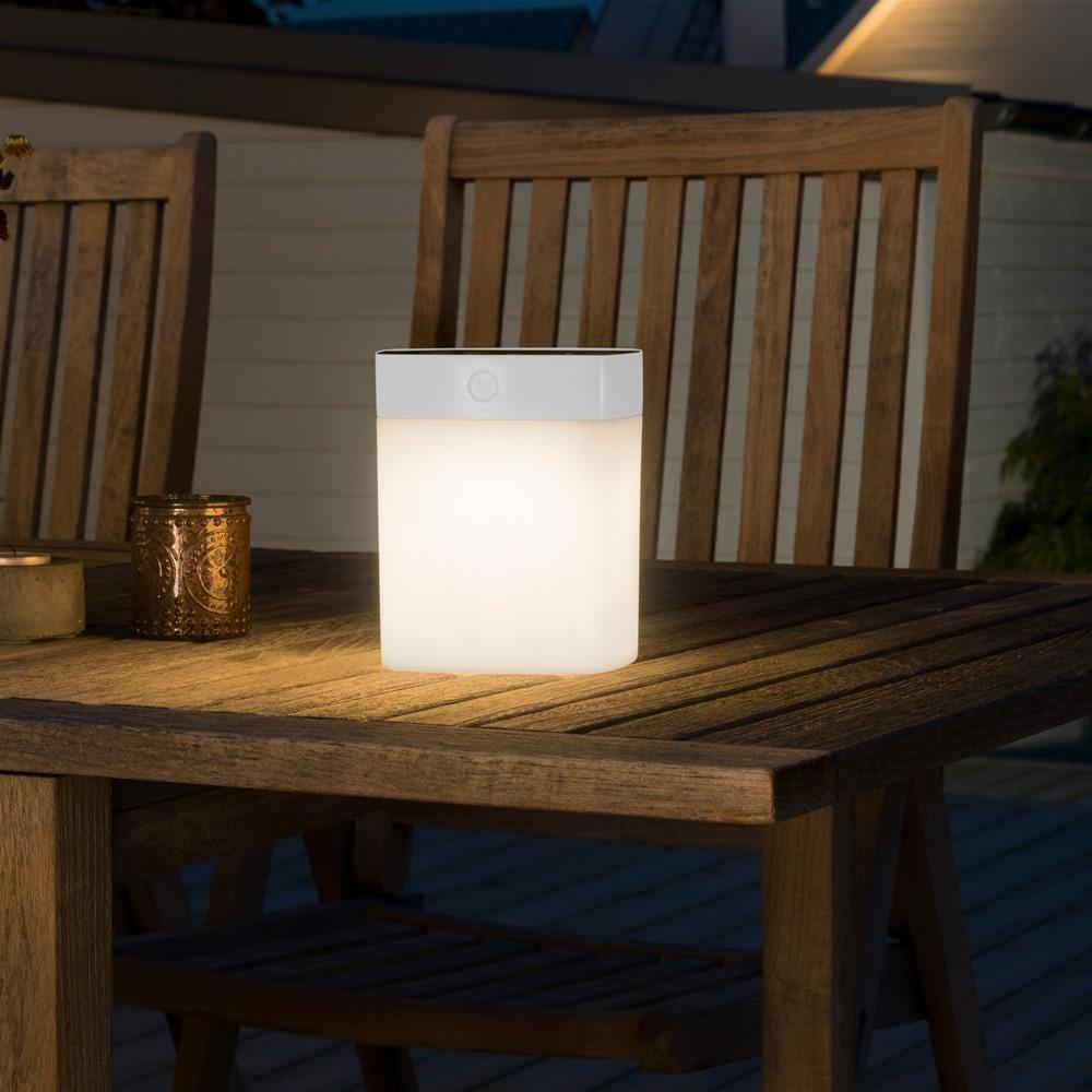 Konstsmide Solar Powered Dimmable LED Garden Table Light, White