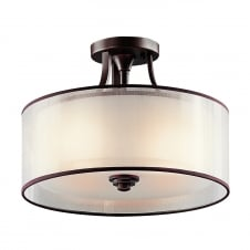 Lacey American Traditional Flush Pendant Drum Shade Light