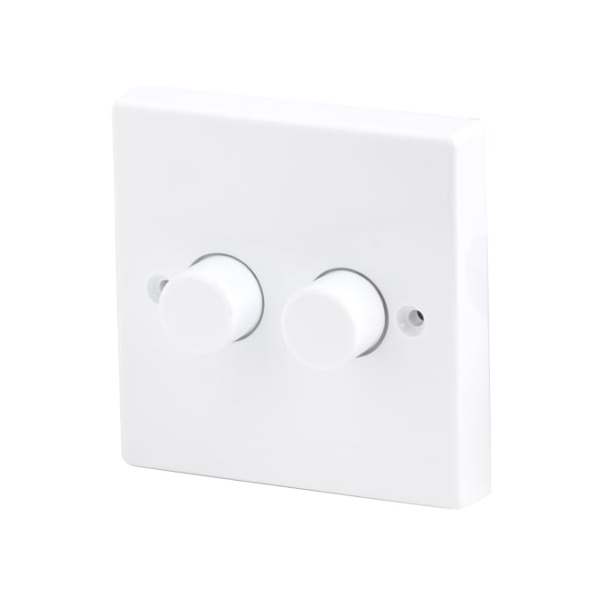 LED Robus 2 Gang 2 Way 250W White Dimmer Switch