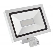 Micro Activate Slim LED Floodlight, 10W, White, with PIR