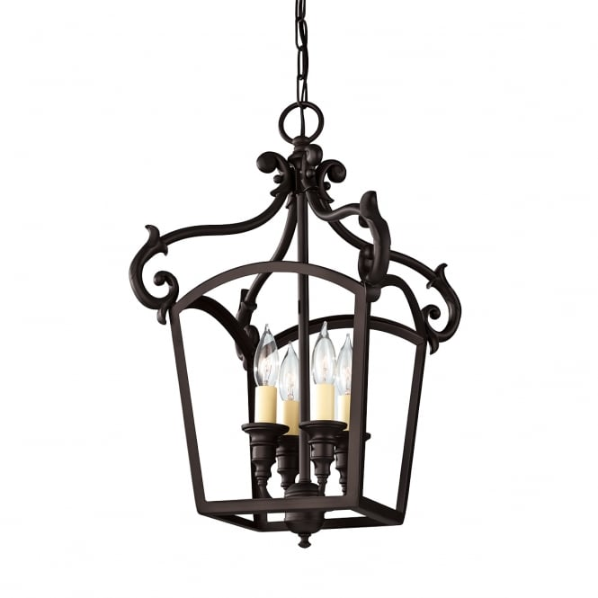 Feiss Oil Rubbed Bronze Glassless Ceiling Lantern with Ivory Candle Drips