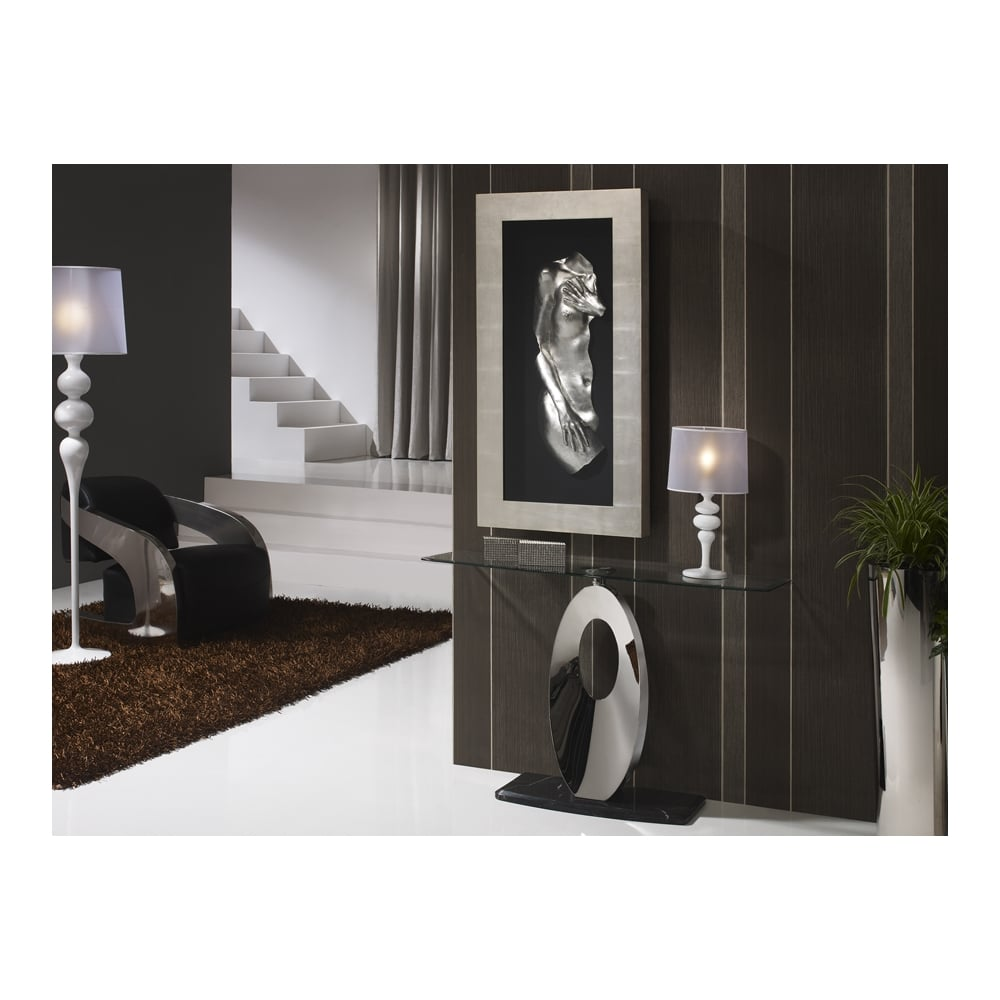 Luna Modern Chrome Marble And Gl Console Table