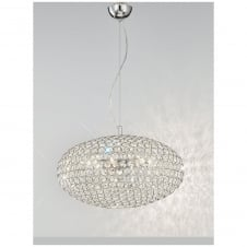 Marquesa Chrome 6 Light Crystal Glass Ceiling Pendant