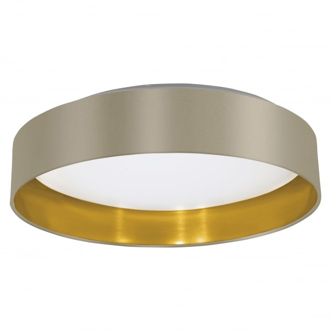 Eglo Maserlo Flush Ceiling Light Taupe and Gold Drum Shade