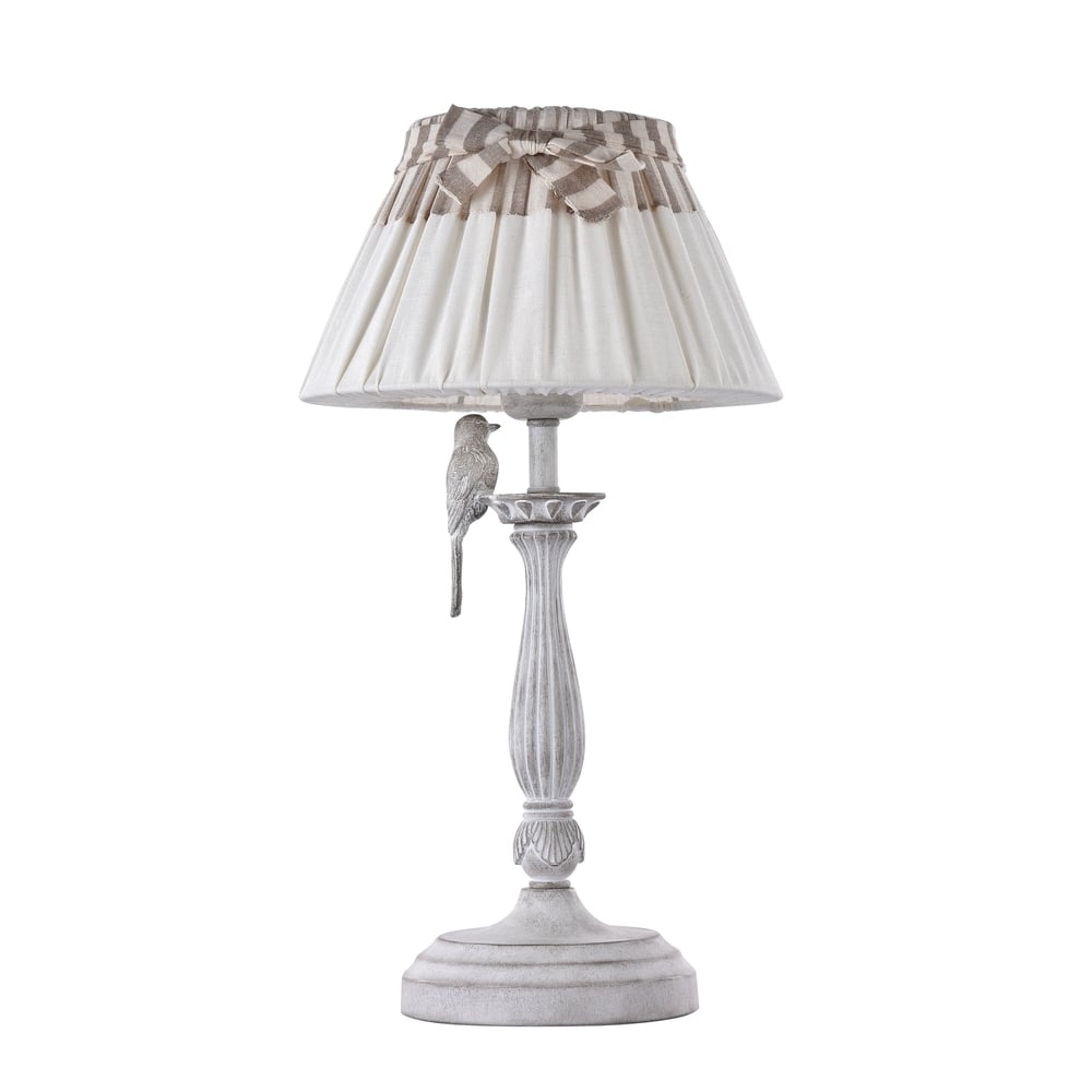 Bird Antique White Table Lamp With French Style Shade
