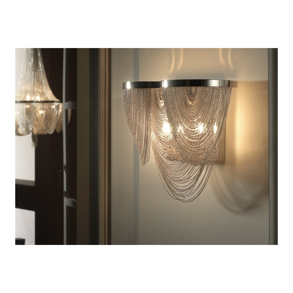 Schuller SKU20914 Minerva Twin Chrome Wall Sconce with Nickel Chains ...