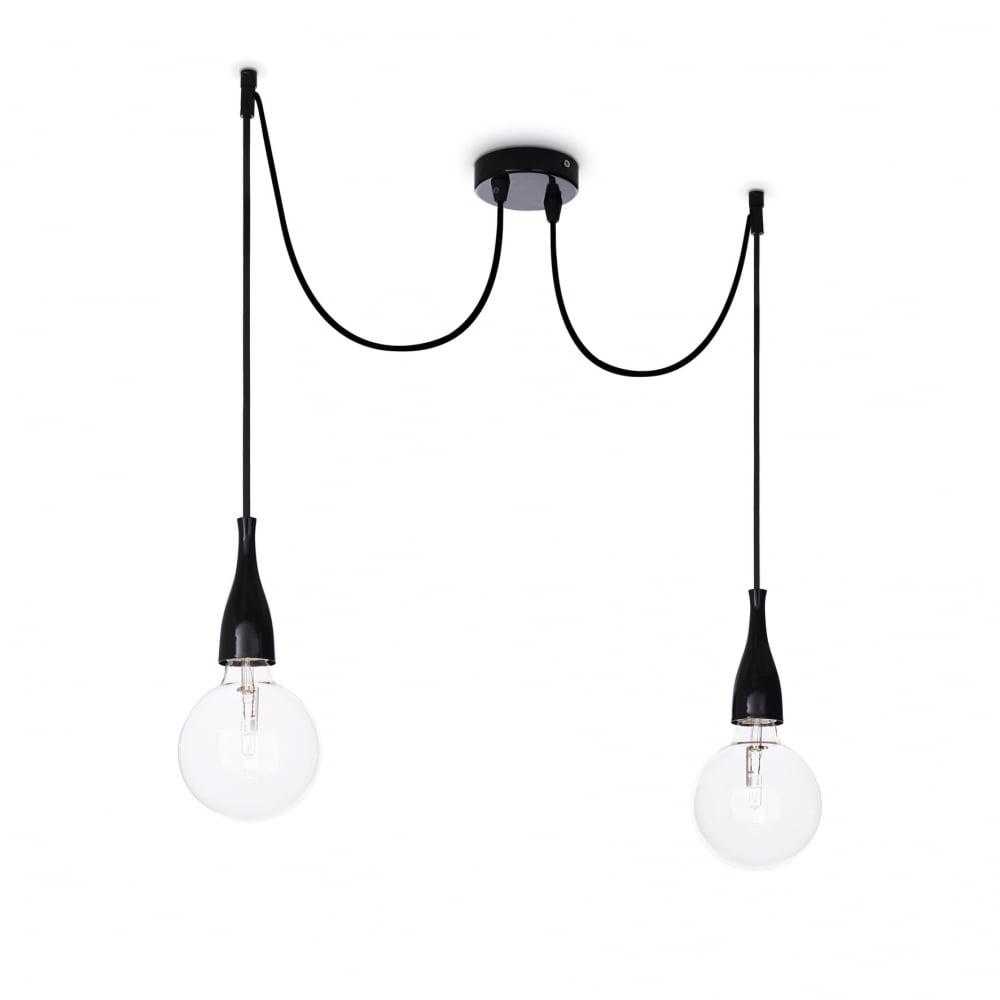 Minimal 2 Bulb Pendant Light White Opaco