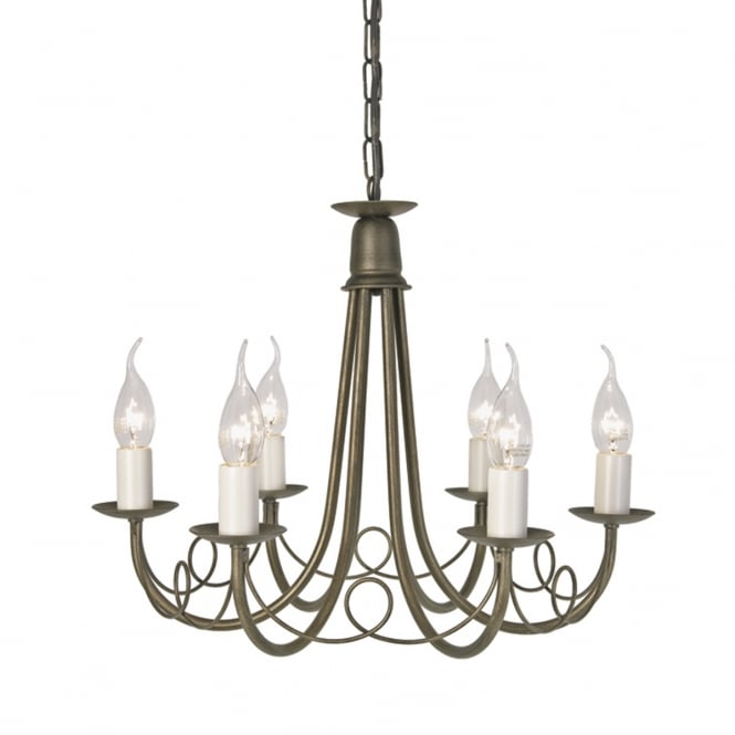 Elstead Minster 6lt Chandelier Ivory Gold
