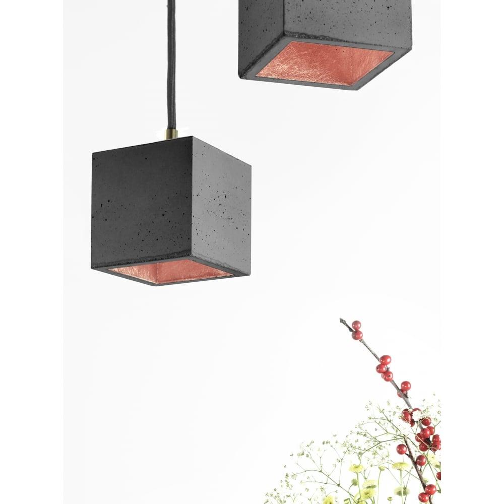 Modern Dark Grey And Copper Concrete Cube Ceiling Light Ideas4lighting