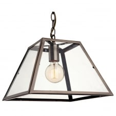 Kew Antique Brass with Clear Glass 1 Light Ceiling Pendant