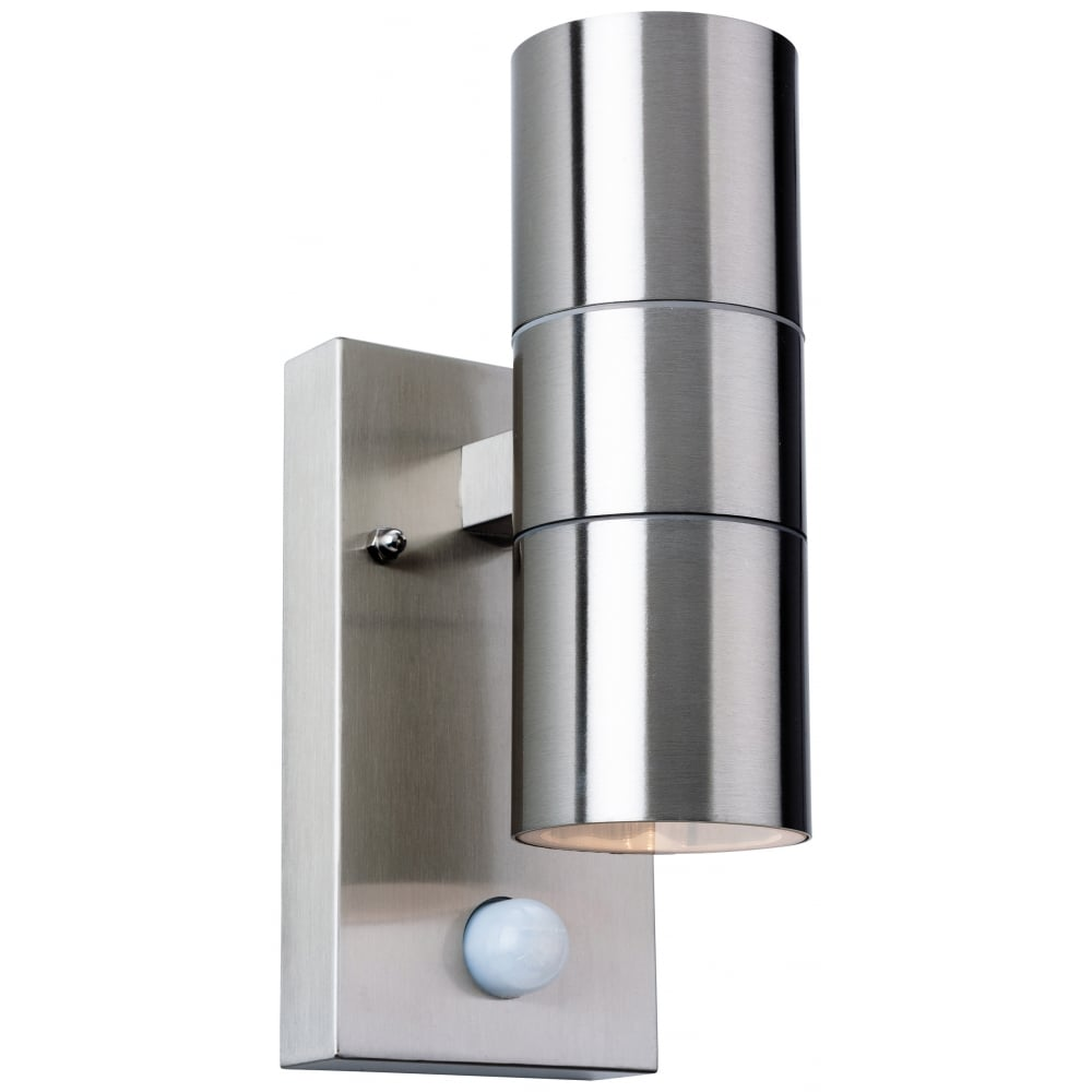 Firstlight 3429st colt 2 light wall with pir ideas4lighting sku184i4l for Stainless steel bathroom lights