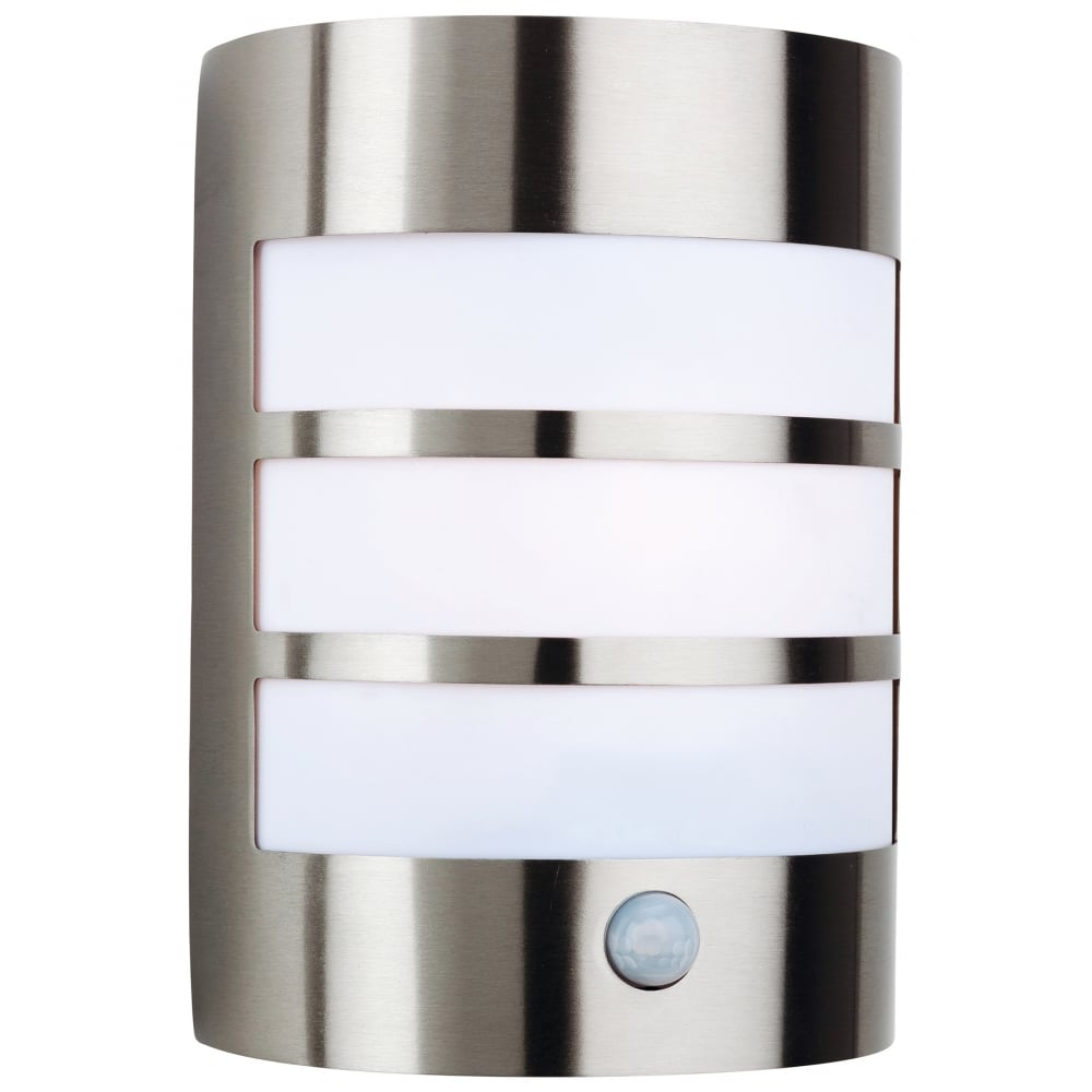 Firstlight 3430st stainless steel wall light with pir ideas4lighting sku185i4l for Stainless steel bathroom lights