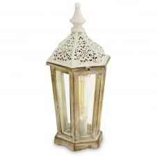 Natural Patina White Wood Lantern with Cream Hat