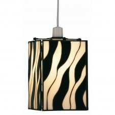 Non-Electric Zebra Tiffany Shade Pendant
