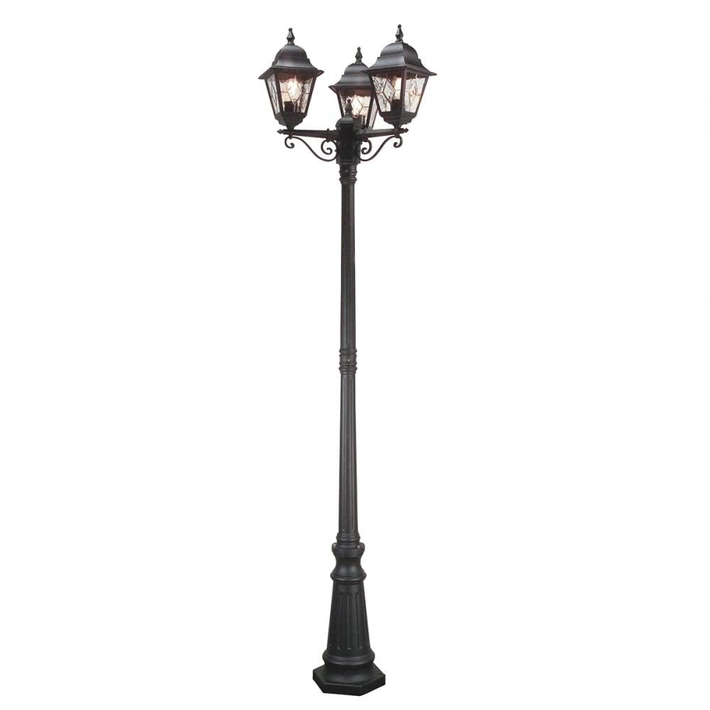 Norfolk Black Driveway 3 Lantern Outdoor Pole Light