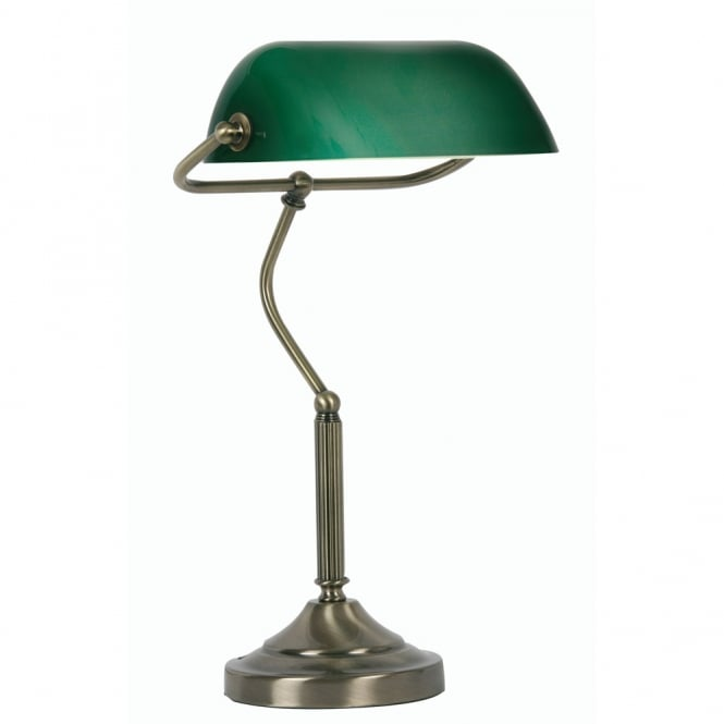 Oaks Antique Brass Bankers Lamp with Green Shade
