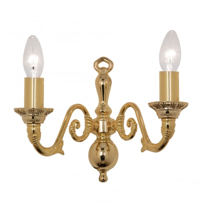 Oaks Amaro Gold Plate 2 Light Wall Bracket