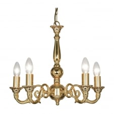 Amaro Gold Plate 5 Light Ceiling Fitting