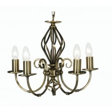 Tuscany Antique Brass 5 Light Ceiling Pendant