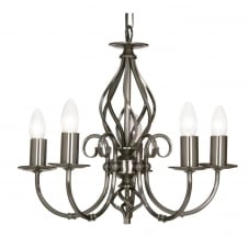 Tuscany Antique Silver 5 Light Ceiling Pendant