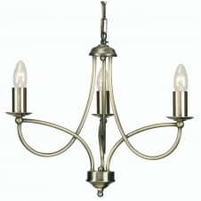 Loop Antique Brass 3 Light Ceiling Fitting
