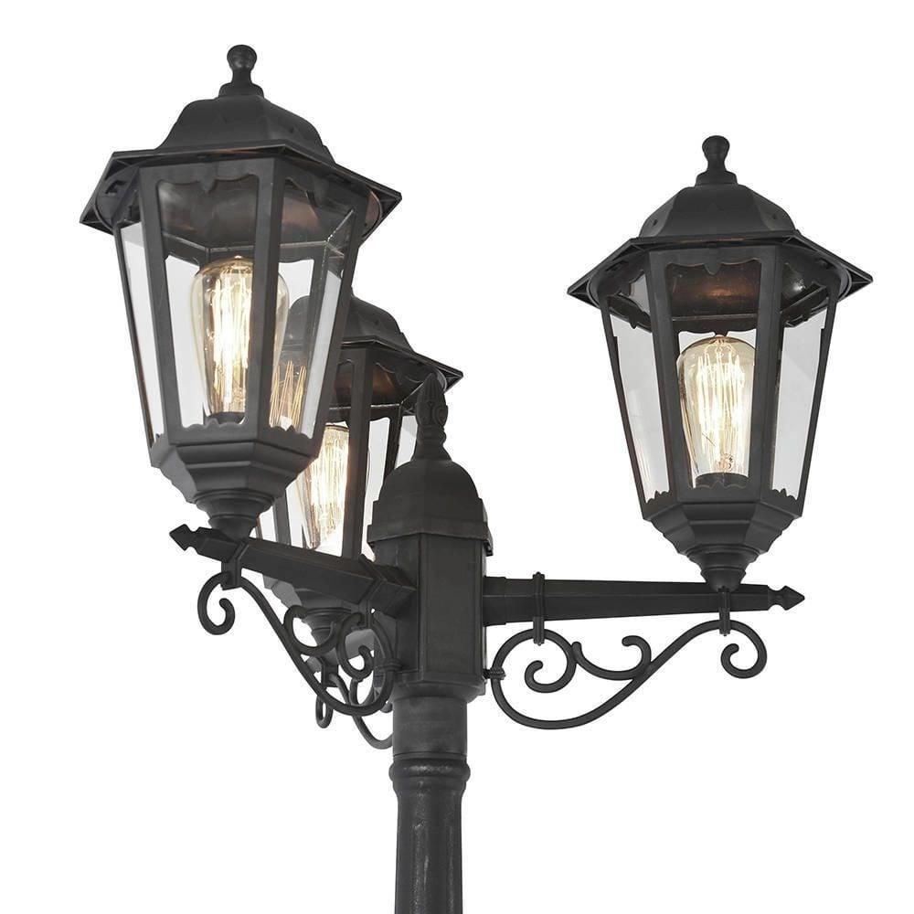 Outdoor Black Driveway 3 Lantern Pole Light